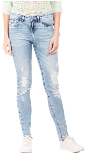 U.S. Polo Assn. Women Super Skinny Fit Mid Rise Solid Jeans - Blue
