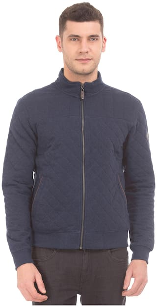 U.S. Polo Assn. Men Blue Solid Quilted jacket