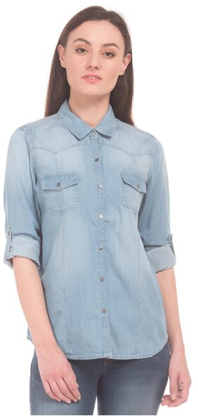 U.S. Polo Assn. Women Blue Cotton Spread collar Washed Regular Fit Chambray Shirt