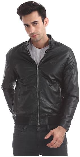 Men PU Long Sleeves Leather Jacket