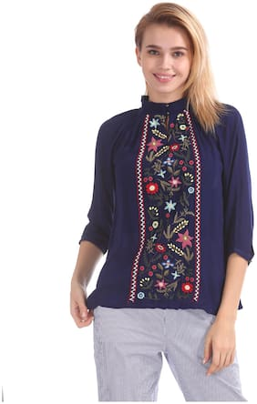 Women Embroidered Mock Neck Top