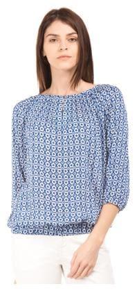 U.S. Polo Assn. Women Blue Viscose Floral Printed Elasticized Hem Top