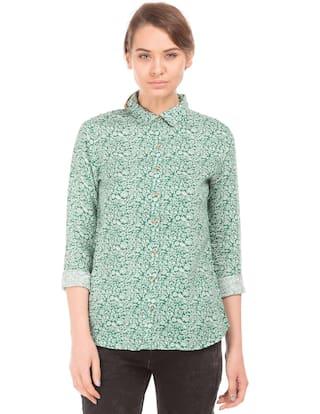 U.S. Polo Assn. Green Linen Printed Linen Shirt