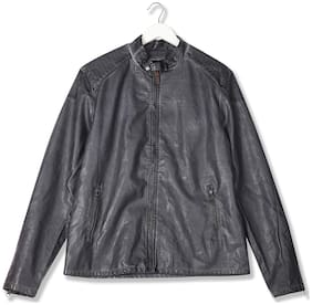 Men Cotton Long Sleeves Leather Jacket