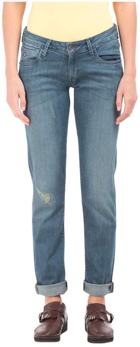 U.S. Polo Assn. Blue Cotton Mid Rise Skinny Fit Jeans