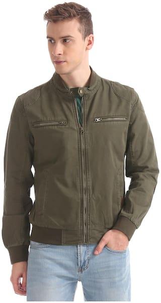 U.S. Polo Assn. Men Green Solid Bomber jacket