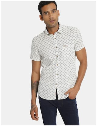 U.S. Polo Assn. Men White Printed Regular Fit Casual Shirt