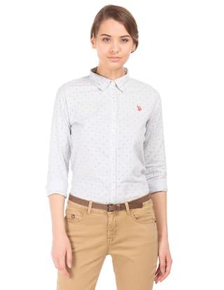 U.S. Polo Assn. Blue Cotton Striped Cotton Shirt
