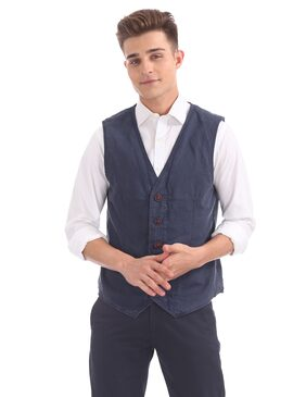 U.S. Polo Assn. Men Cotton Regular Fit Waistcoat - Blue