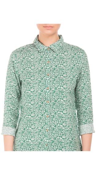 Green Women Linen S Linen U Polo Printed Shirt Assn wxvIqA1