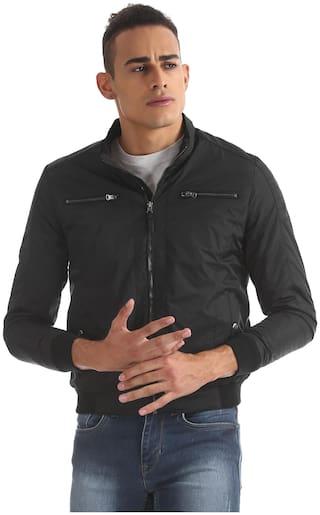 U.S. Polo Assn. Men Black Solid Bomber jacket