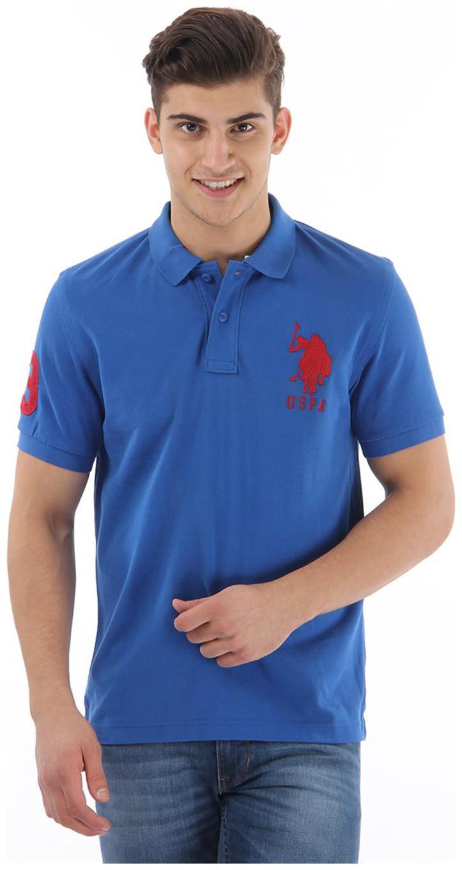 U.S. Polo Assn. Men Slim fit Polo neck Solid T Shirt   Blue