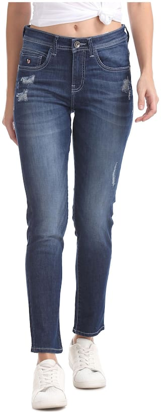 U.S. Polo Assn. Women Slim fit Mid rise Washed Jeans - Blue