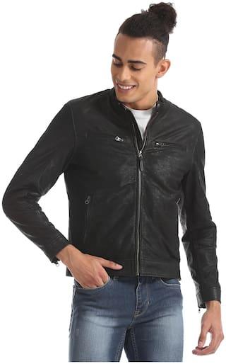 U.S. Polo Assn. Men Black Solid Biker jacket