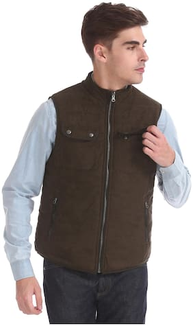 Men Polyester Sleeveless Bomber Jacket