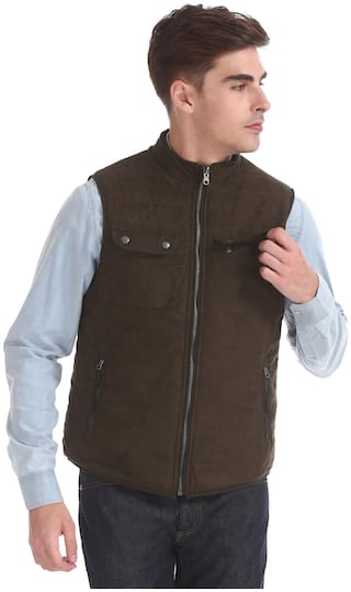 U.S. Polo Assn. Men Brown Solid Bomber jacket