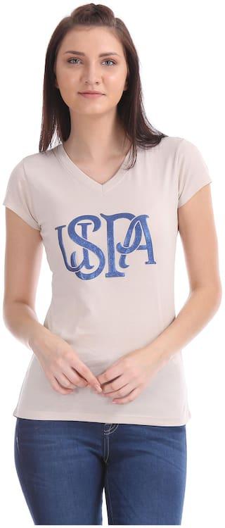 U.S. Polo Assn. Women Beige Regular fit V neck Cotton T shirt