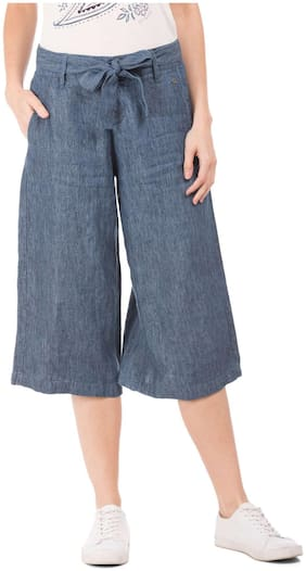 Women Solid Bootcut Pants