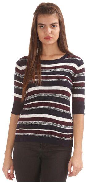 U.S. Polo Assn. Women Cotton Striped - A-line Top Blue
