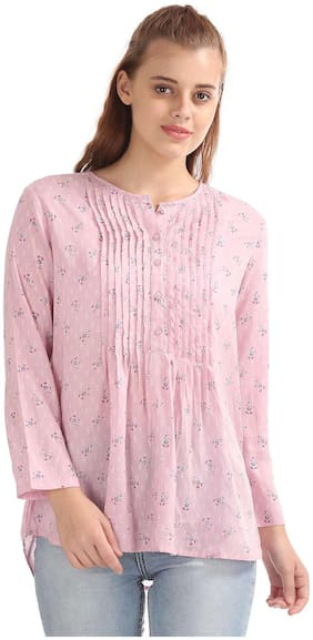 U.S. Polo Assn. Women Polyester Printed - A-line Top Pink