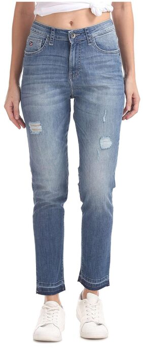 U.S. Polo Assn. Women Slim Fit High Rise Washed Jeans - Blue