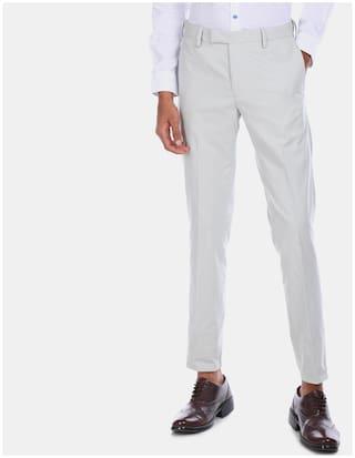 U.S. Polo Assn. Men Solid Regular Fit Formal Trouser - Grey