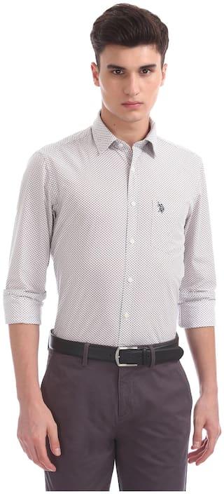 U.S. Polo Assn. Men Regular fit Formal Shirt - Beige