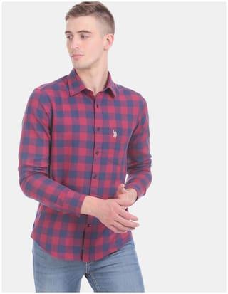 U.S. Polo Assn. Men Pink & Navy Blue Checked Regular Fit Casual Shirt