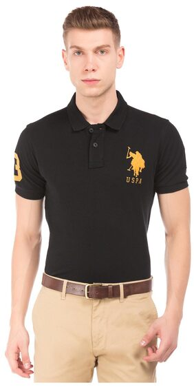 U.S. Polo Assn. Black Cotton Appliqued Slim Fit Polo Shirt