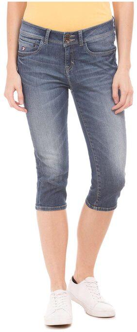 U.S. Polo Assn. Blue Cotton High Rise Capri Jeans