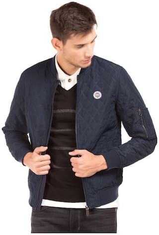 U.S. Polo Assn. Men Blue Solid Bomber jacket - Blue