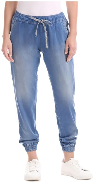 U.S. Polo Assn. Women Regular Fit Mid Rise Printed Jeans - Blue