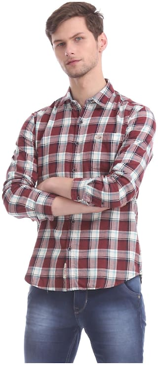 U.S. Polo Assn. Men Red & White Checked Regular Fit Casual Shirt