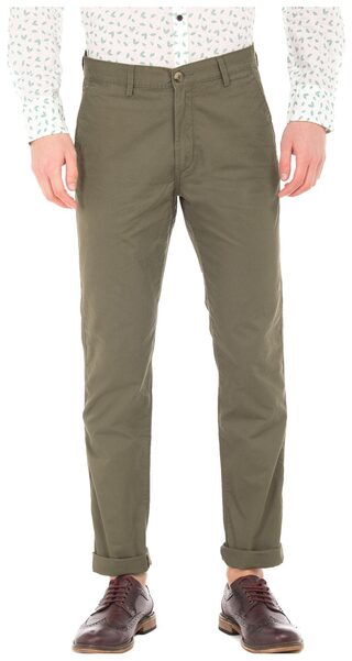 U.S. Polo Assn. Green Cotton Slim Fit Twill Chinos