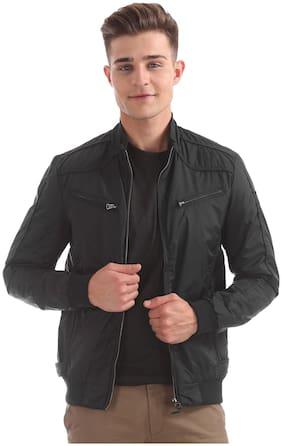 Men Polyester Long Sleeves Bomber Jacket