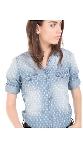 Polo Blue Print Chambray Assn S Washed Floral Shirt Cotton Women U Bwq77f