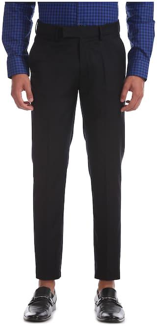 U.S. Polo Assn. Men Solid Slim Fit Formal Trouser - Black