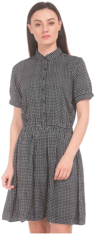 5e3f0b244 Buy U.S. Polo Assn. Cotton Checked A-line Dress Grey Online at Low ...
