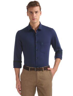U.S. Polo Assn. Men Slim Fit Formal Shirt - Blue