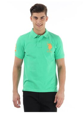 U.S. Polo Assn. Men Slim Fit Polo Neck Solid T-Shirt - Green