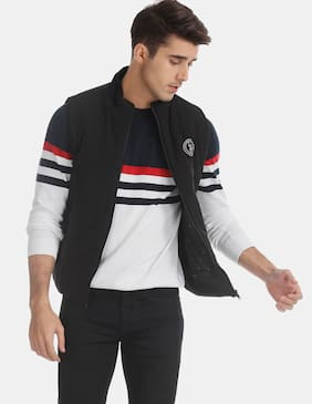 Men Polyester Sleeveless Quilted Jacket