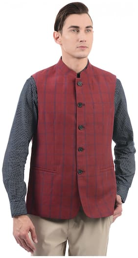 Men Checked Cotton Ethnic Jacket Pack Of 1