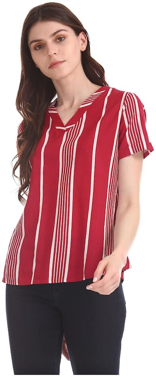 U.S. Polo Assn. Women Striped Regular top - Red