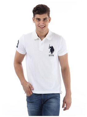 U.S. Polo Assn. Men Slim Fit Polo Neck Solid T-Shirt - White