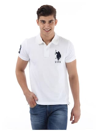 Buy U S Polo Assn Men Slim Fit Polo Neck Solid T Shirt White
