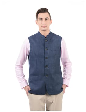 U.S. Polo Assn. Men Slim Fit Cotton Sleeveless Solid Ethnic Jackets - Blue