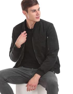 Men Nylon Long Sleeves Bomber Jacket