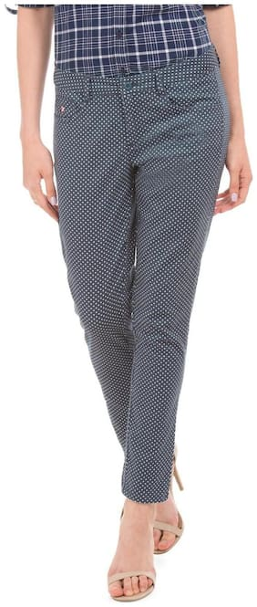 U.S. Polo Assn. Women Slim fit Mid rise Printed Regular trousers - Grey