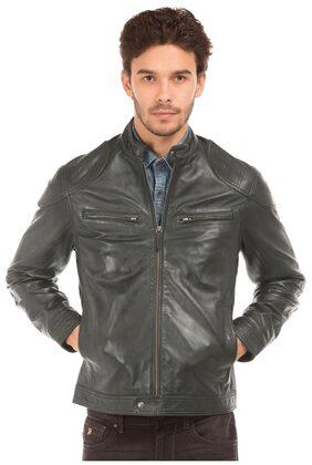 U.S. Polo Assn. Men Leather Regular Jacket - Grey