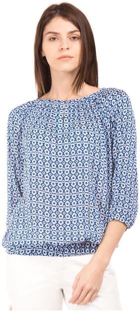 Women Floral Keyhole Top